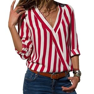 Womens Casual V Neck Striped Long Sleeve Blouse